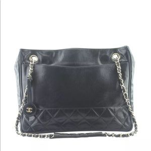 Chanel Black Quilted Leather Tote